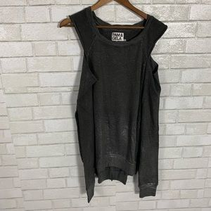 PAM & GELA grey shimmer cold shoulder sweater Med